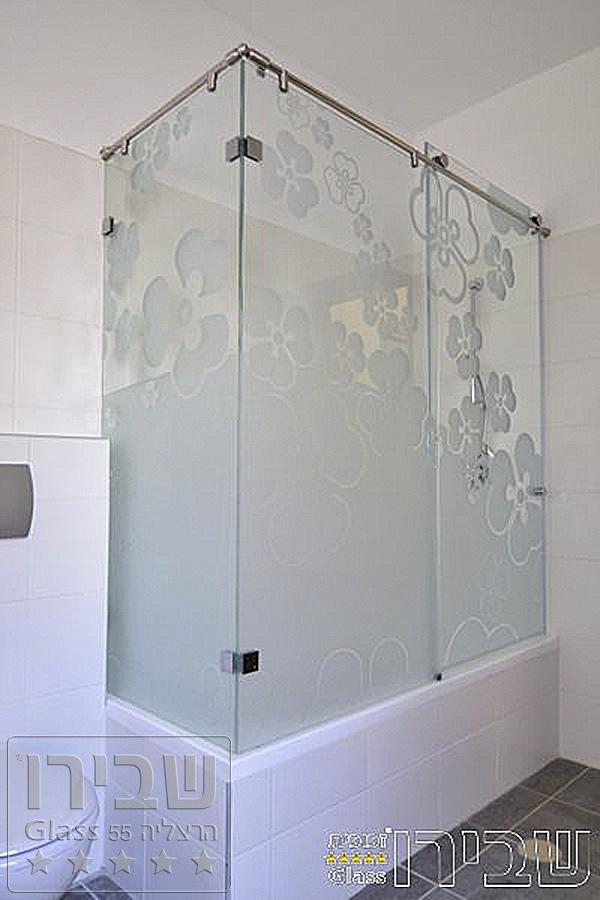 מקלחון לאמבטיה פינתי בזכוכית
