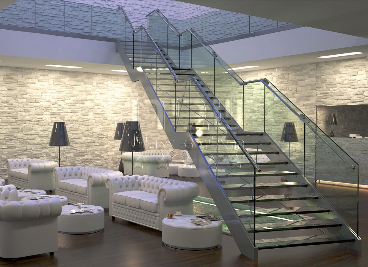 מעקה זכוכית למדרגות זכוכית בעיצוב איטלקי