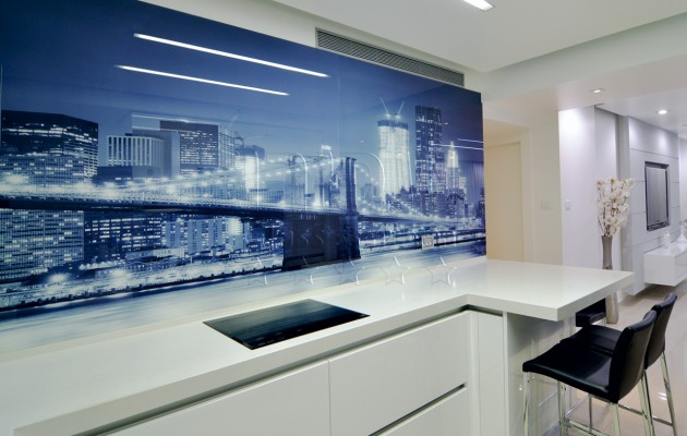 זכוכית מודפסת באווירה אורבנית למטבח
