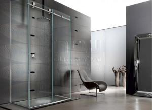 מקלחונים מעוצבים עם הזזה על גבי מוט נירוסטה