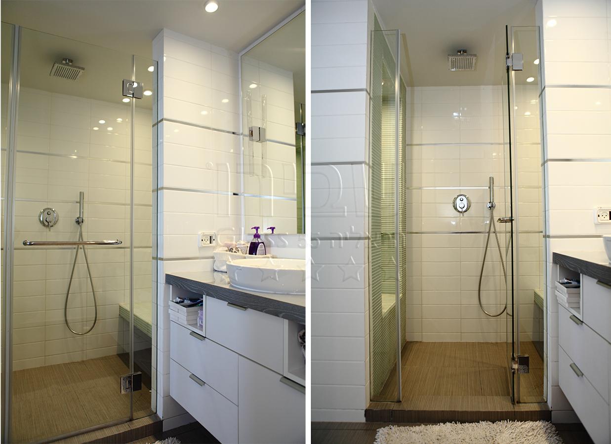 מקלחון חזית לאמבטיה מזכוכית עם קבועי צד