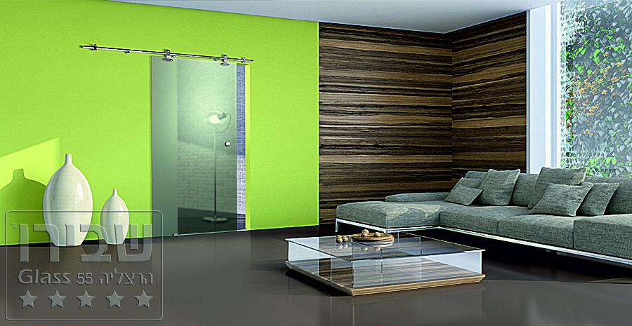 שילוב של חיפוי קיר מזכוכית וחיפוי קיר מעץ