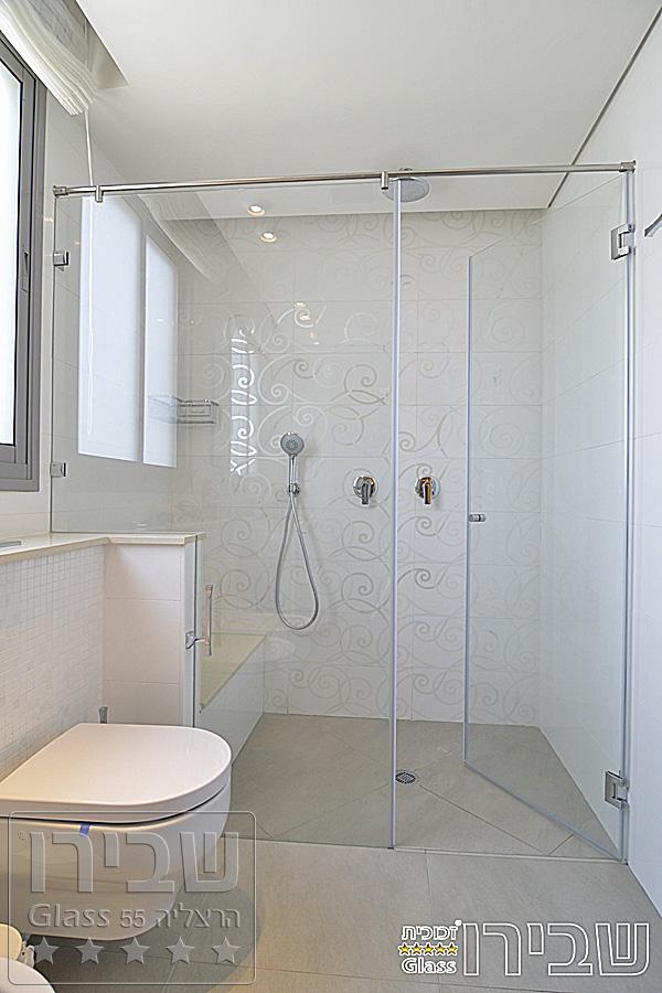מקלחון לאמבטיה עם חזית קבוע + דלת על גבי קיר