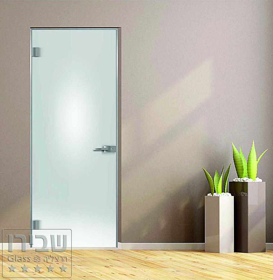 דלת זכוכית לבנה אקוסטית