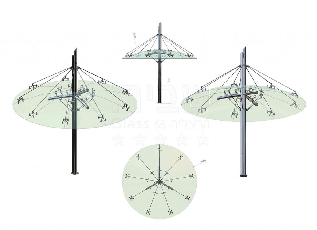גגון פטרייה זכוכית -תכנון ביצוע