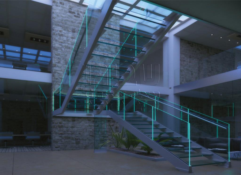 מעקה זכוכית למרפסת איטלקי הכולל תאורה LED פנימית