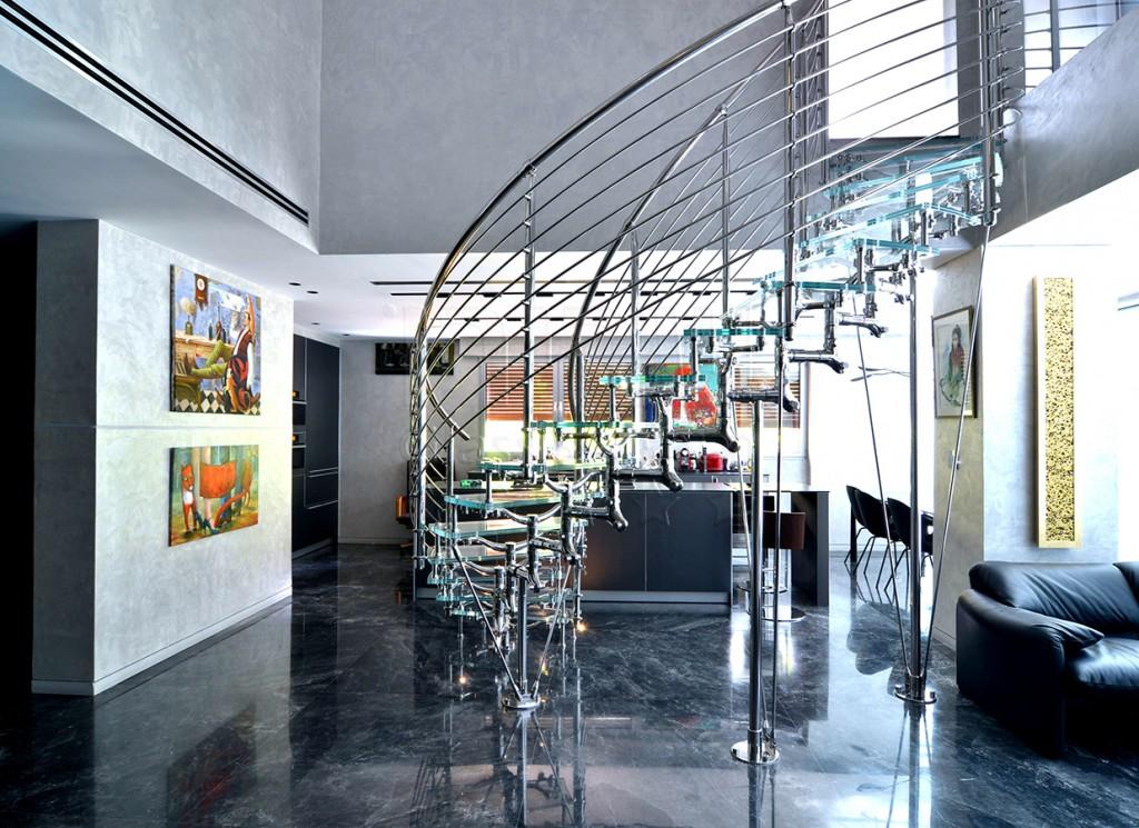 גרם מדרגות זכוכית איטלקי מעוצב דגם טטיאנה למרפסת