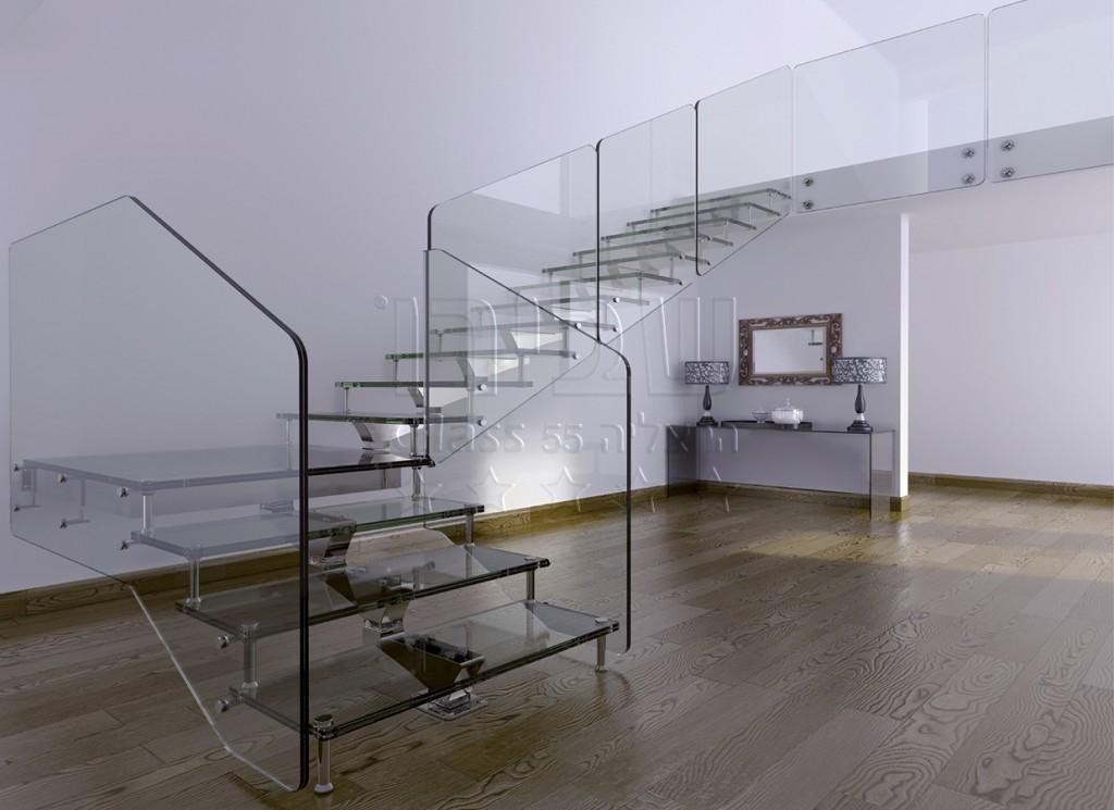 גרם מדרגות זכוכית איטלקי על גבי שדרת אלומיניום
