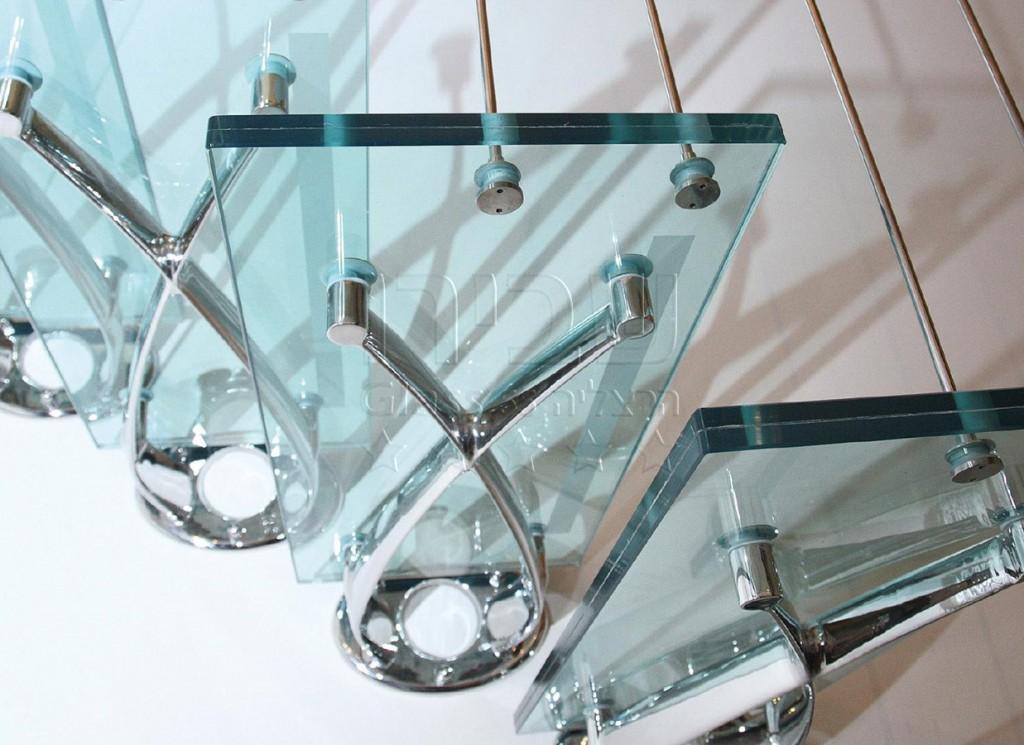 גרם מדרגות זכוכית איטלקי תלוי בשילוב מעקה מתכת