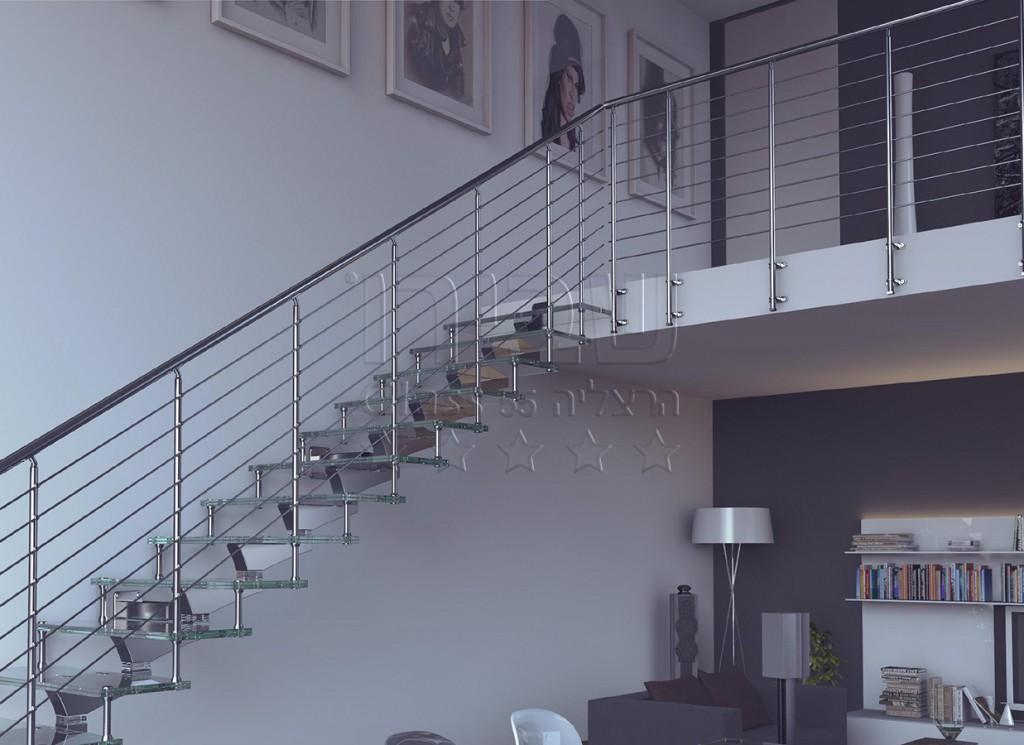 גרם מדרגות זכוכית בעל שדרה אמצעית
