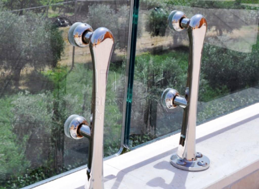 עמודונים מעקה זכוכית