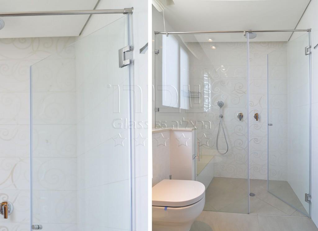 מקלחון חזיתי קבוע דלת על גבי קיר
