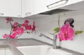 הדפסה על זכוכית למטבח עם פרחים ורודים